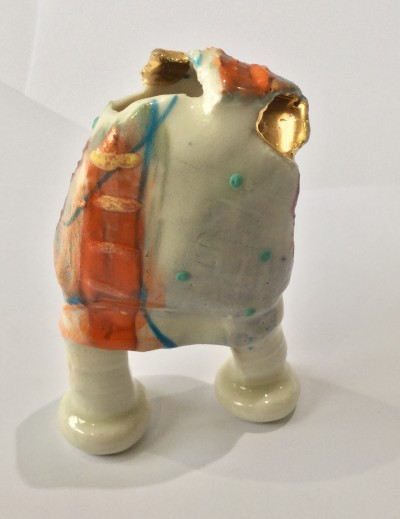 LS30.  Precious peninsular Pot with 2 Legs  by Linda Styles